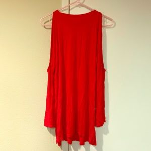 Red open shoulder tunic top